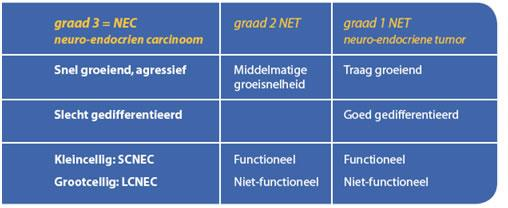 Mate van differentiatie per type neuro-endocriene kanker